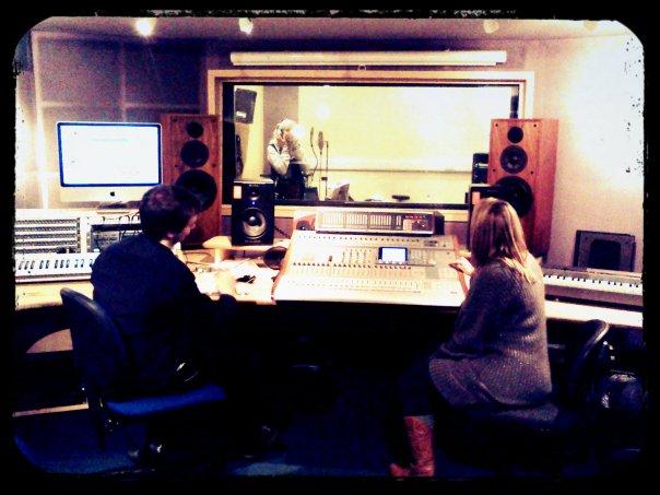 Lauren Wright Vocal Recording - Lawrence Harvey (left) , Lauren Wright (cen), Carrie Garratt (right) (Picture: Stu Eaves)